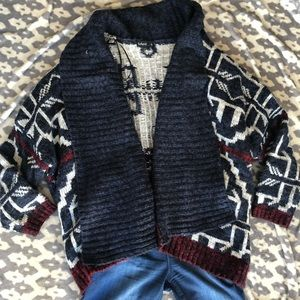 Sweaters - EUC⭐️ Patterned Open Wool Blend Cardigan
